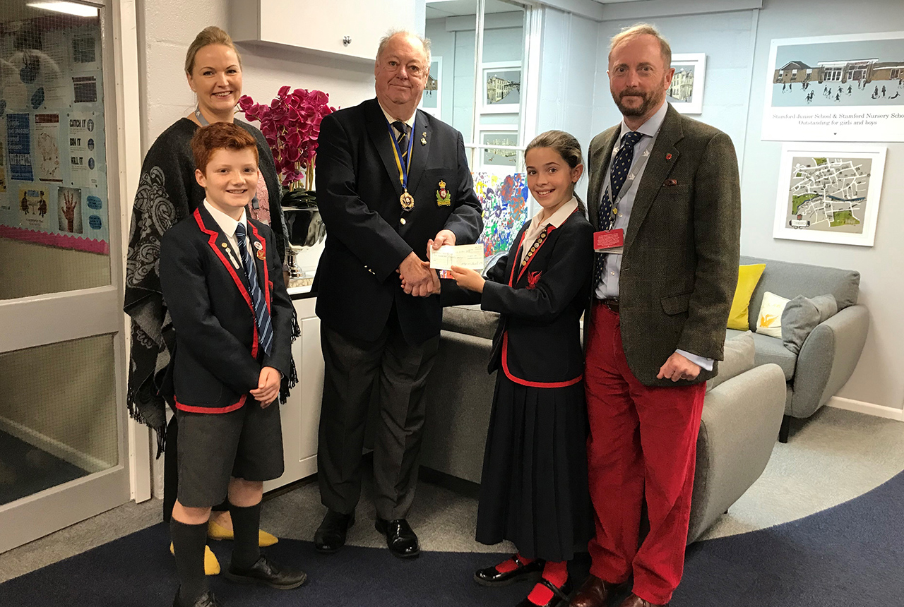 Royal British Legion presented with Cheque from Stamford Junior School