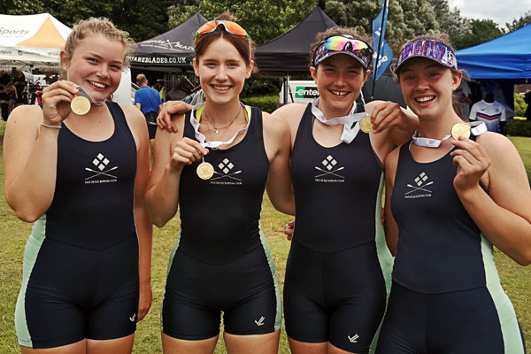 Charlotte celebrates gold at British Junior Rowing Championships