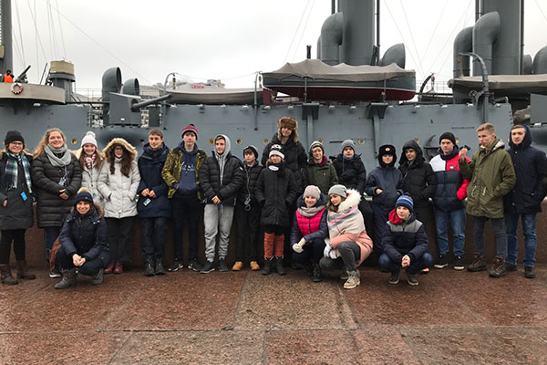 Visiting the battleship Aurora in Moscow