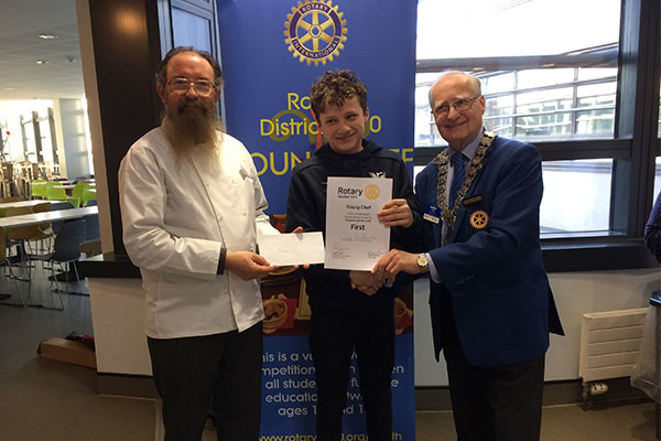 George becomes East District Champion at Rotary Young Chef Competition