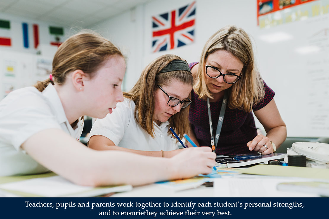 Teachers, pupils and parents work together to identify each students strengths
