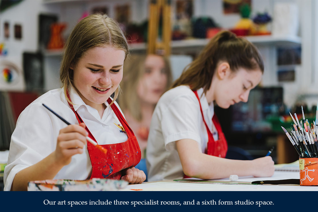 Our art spaces include three specialist rooms, and a sixth form space