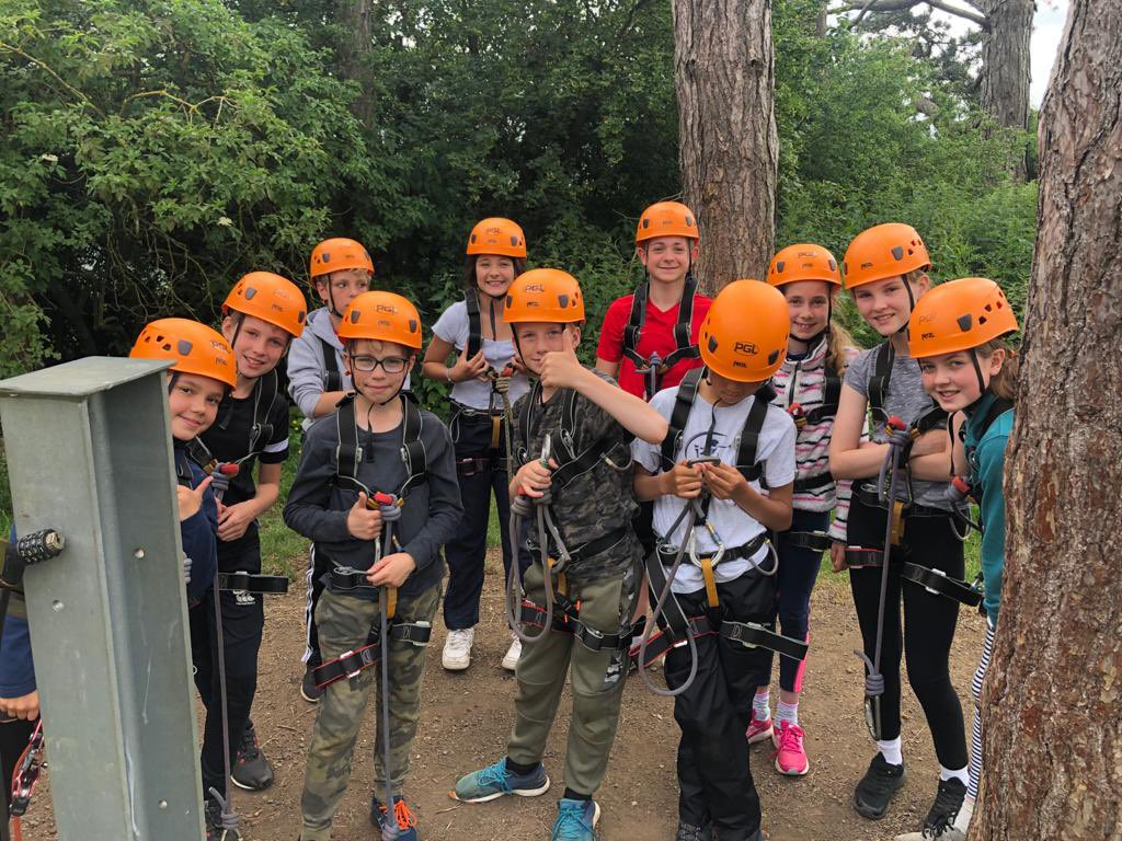 Y6 trip PGL Caythorpe Court today, raft building, zip wires and giant high swings.