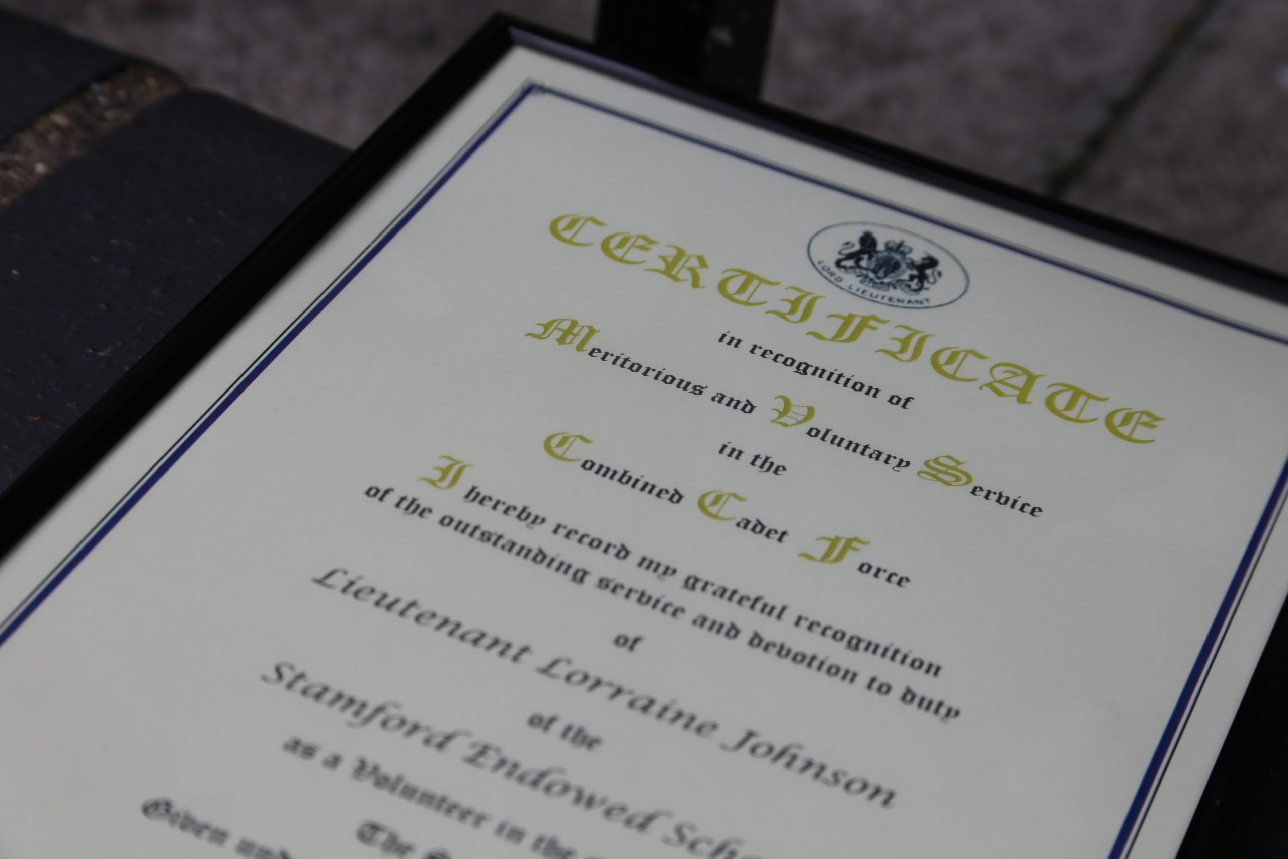 Lt L Johnson presented with Lord-Lieutenant's Certificate for Meritorious Service